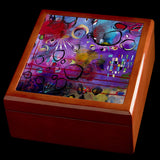 Unique jewellery box with abstract art