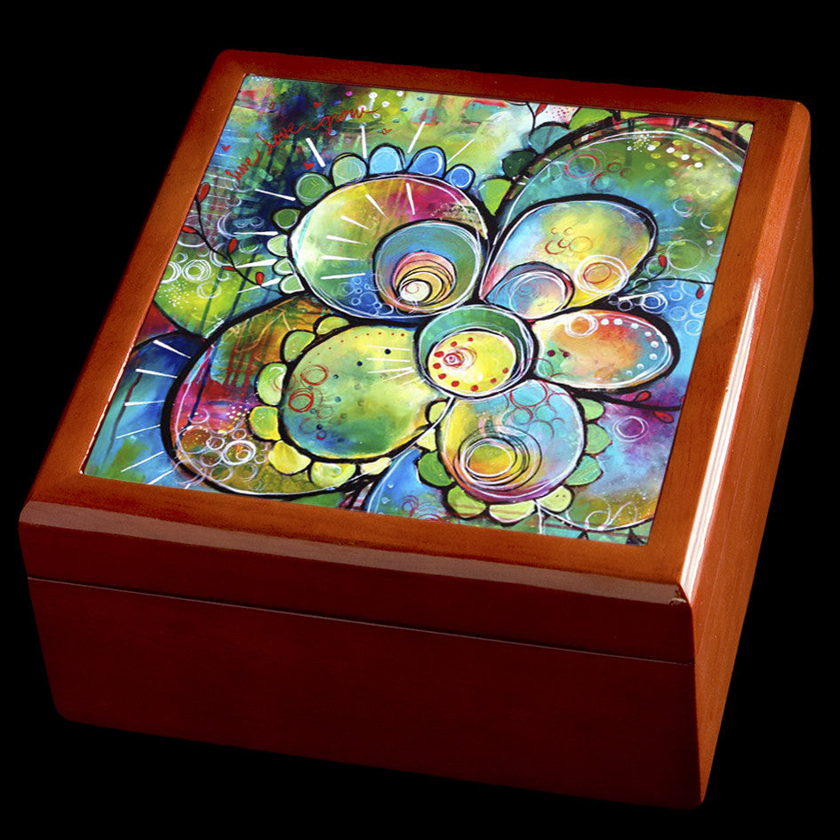 Flower jewellery box, personalised wooden box