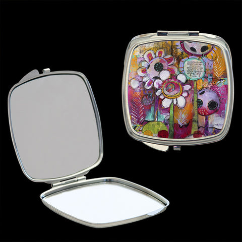 Mirror Compact with abstract flowers art