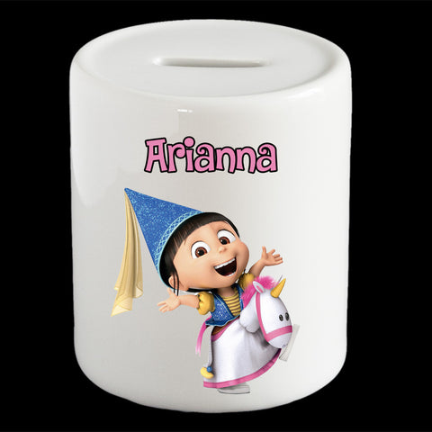 Personalised Agnes piggy bank, Despicable Me Agnes money box
