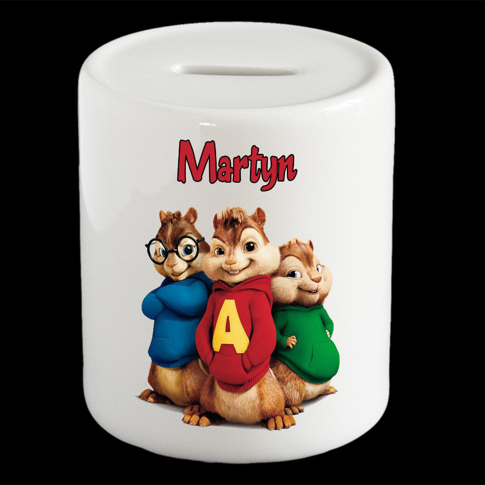 Personalised Alvin and the Chipminks money box, Alvin Chipmunks piggy bank