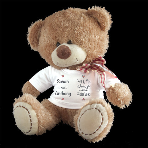 Personalised Always Love Teddy Bear, Valentine's day teddy bear gift