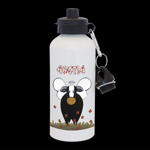 Personalised Angel Cow Water Bottle