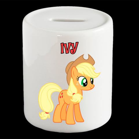 Personalised Applejack Little pony money box, piggy bank