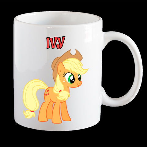 Personalised Applejack Little Pony Coffee Mug, Latte Mug or Plastic Mug
