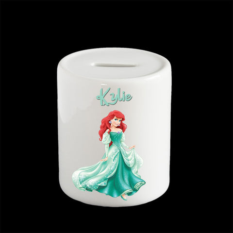 Personalised Ariel piggy bank, Disney Princesses Ariel money box