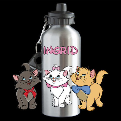 Personalised Aristocats character Water Bottle, named Aristicats Aluminium drink bottle