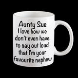 Personalised Favourite Niece or Nephew Aunty Coffee Mug, Aunt gift