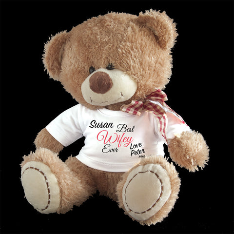 Personalised Best Wifey Ever Teddy Bear, Valentine's day teddy gift