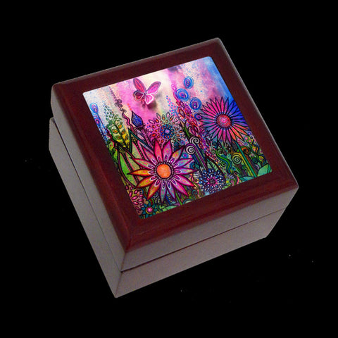 Small Jewellery Box, Earring or Ring Box, Butterfly Garden Art