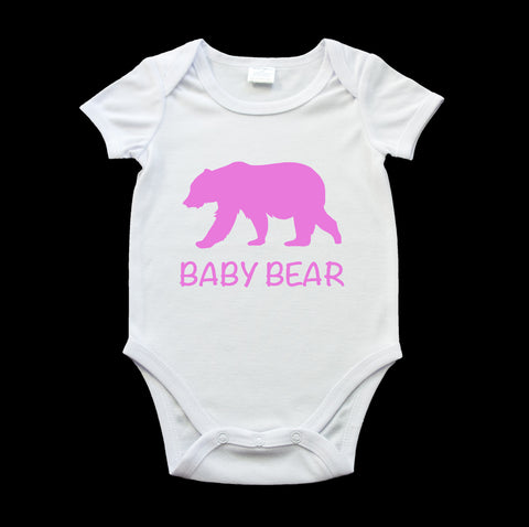 Funny baby bear onesie pink bear and text