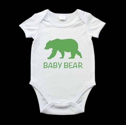 Funny baby bear onesie green bear and text
