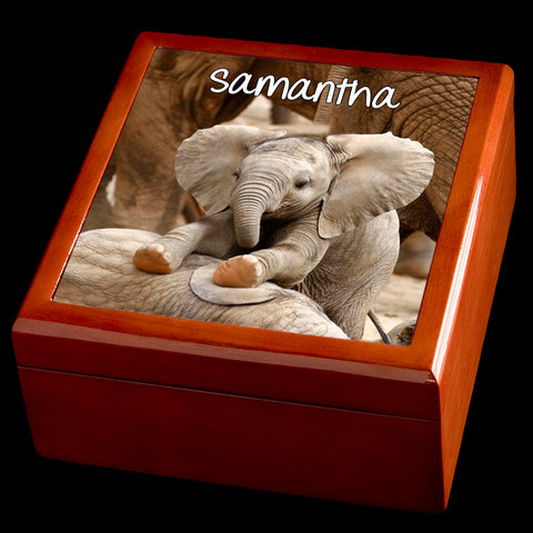 Personalised Baby Elephant Wooden Jewellery Box, Elephant Gift