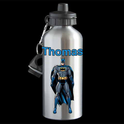 Personalised Batman Water Bottle, Blue Batman Aluminium drink bottle