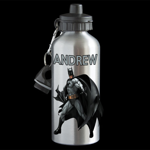 Personalised Batman Water Bottle, Black Batman Aluminium drink bottle