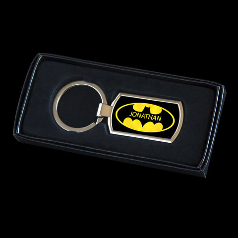 Personalised Batman logo Keyring, Batman tag for bag