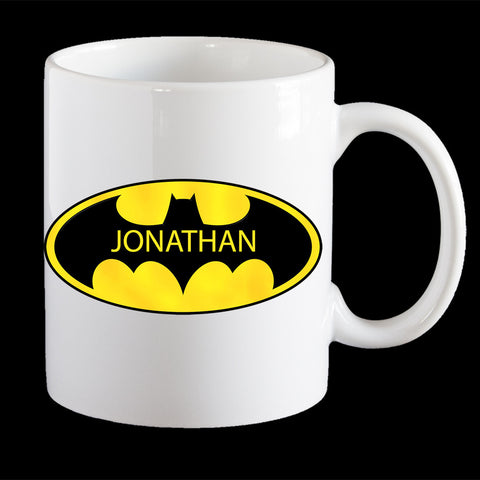 Personalised Batman Logo Coffee Mug, Add your name to the Batman logo