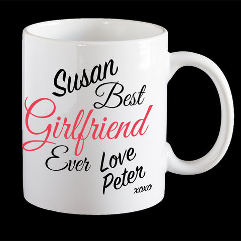 Personalised Best Girlfriend ever Valentine's Day mug, Girlfriend valentines day gift