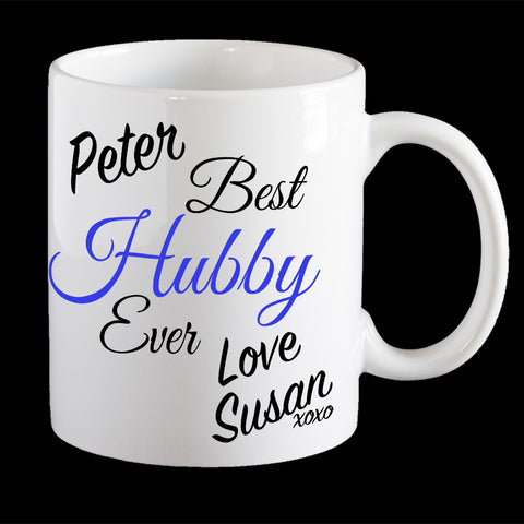 Personalised Best Hubby ever Valentine's Day mug, Husband valentines day gift