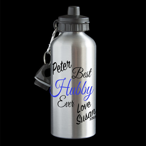 Personalised Best Hubby Water bottle, unique funny Husband Valentines day gift