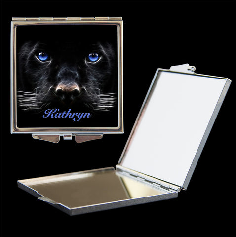 Personalised Mirror Compact Black Panther Cat, make up mirror square, heart, round