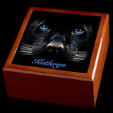 Personalised Black Panther Jewellery Box, Valentines Day gift