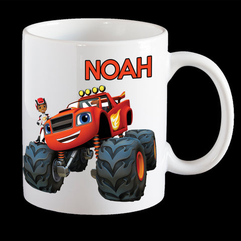 Personalised Blaze Coffee Mug, Blaze Monster Truck kids personalised plastic cup