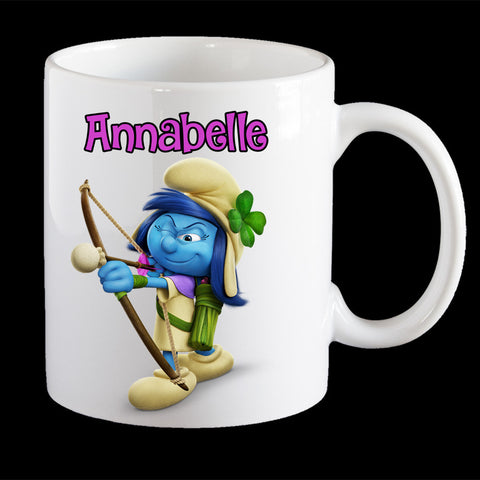Personalised Blossom Smurfette Coffee Mug, Smurf Blossom kids personalised cup