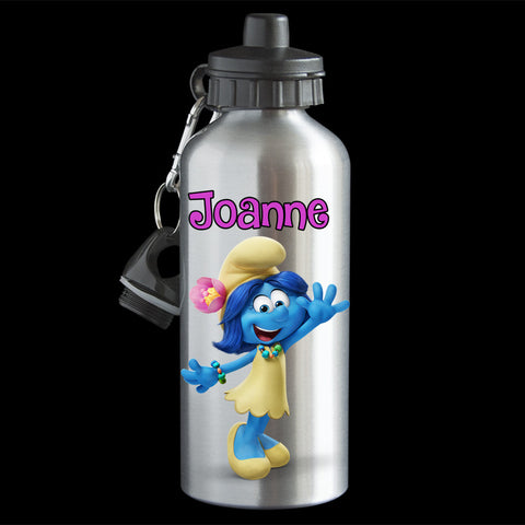 Personalised Blossom Smurfette Water Bottle, Smurf Blosson drink bottle,