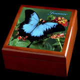 Personalised Blue Butterfly Jewellery Box, Valentines Day gift