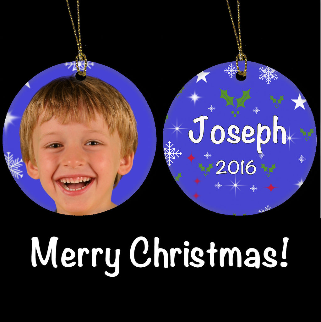 Personalised Christmas Ornament, Boys Photo gift Ceramic Christmas Tree Ornament