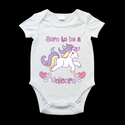 Born to be a Unicorn baby onesie, cute unicorn romper suit