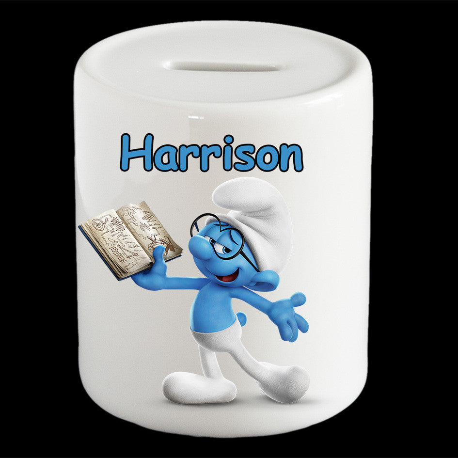 Personalised Brainy Smurf piggy bank, Smurf money box