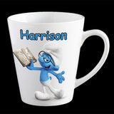 Personalised Brainy Smurf Coffee Mug, Smurf kids personalised cup