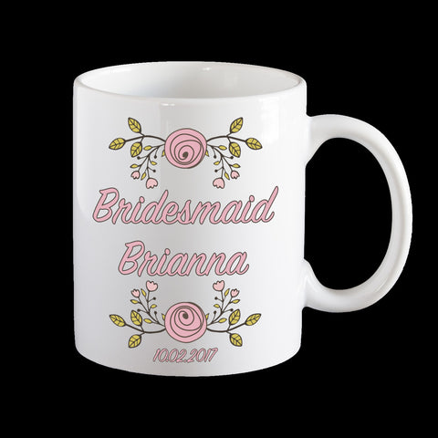 Bridesmaid Personalised Mug, Wedding mug