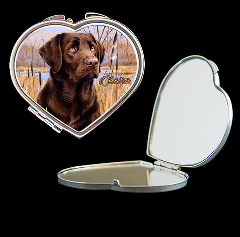 Personalised Mirror Compact brown labrador dog picture, make up mirror square, heart, round