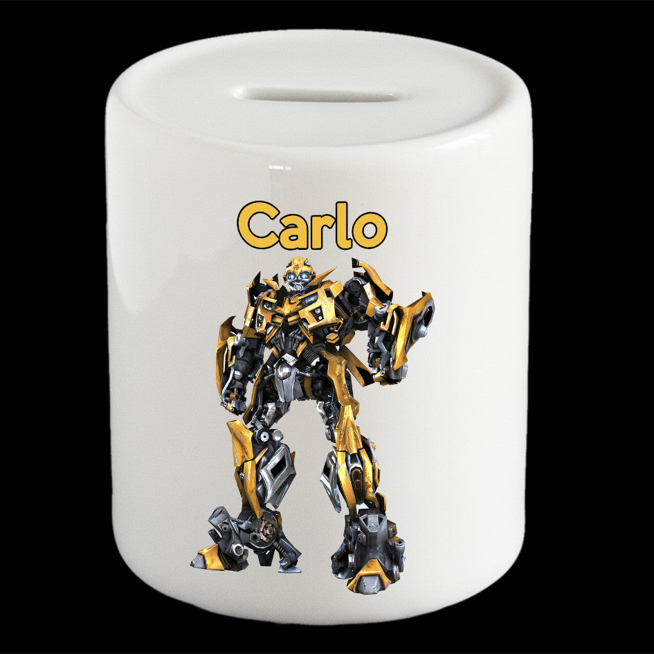 Personalised Bumblebee Transformers piggy bank