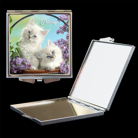 Personalised Mirror Compact Burmese kitten picture, make up mirror square, heart, round