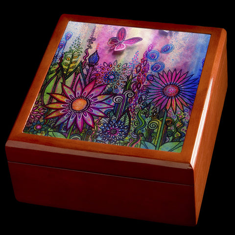 Wooden Jewellery box, Butterfly garden picture