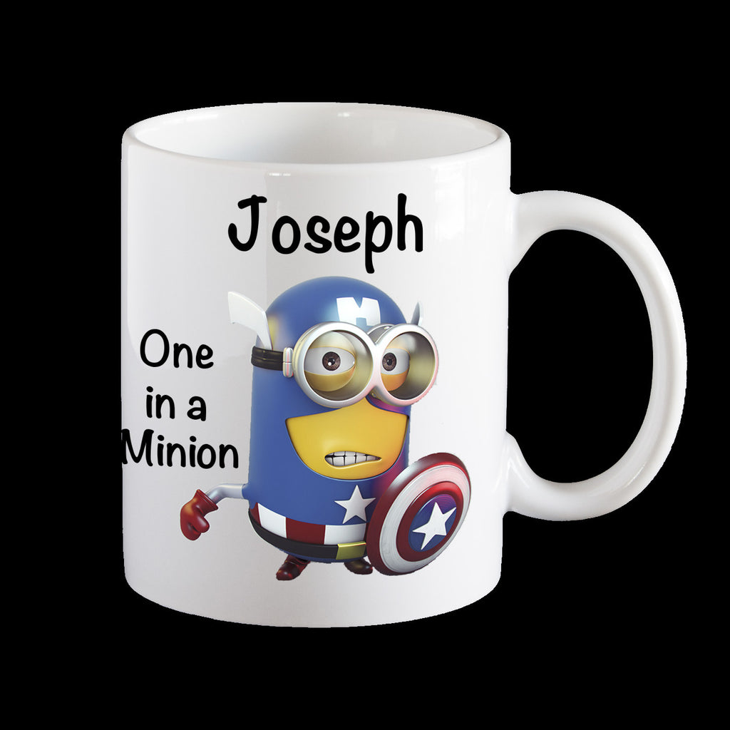 Personalised kids melamine mug, Captain America Minion child's plastic cup