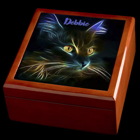 Personalised Cat Jewellery Box, Cat gift, Cat box, cat art