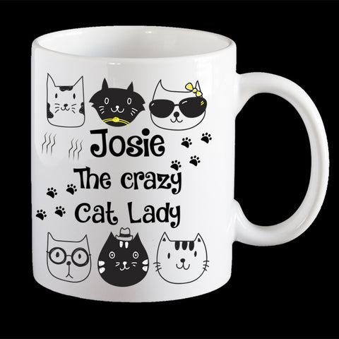 Personalised crazy cat lady mug, named crazy cat lady Coffee Mug