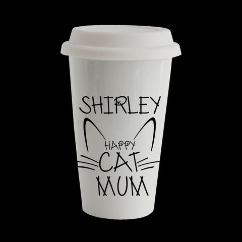Personalised Funny Cat Mum Eco Travel Mug, Ceramic double walled insulated mug, Mother's Day Mug