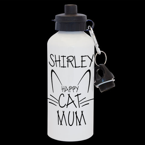 Funny Personalised Cat Mum water bottle, cat person gift, Cat Mum drink bottle