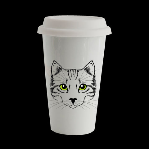 Cat Eco Travel Mug, Ceramic double walled insulated mug, Cat Mug