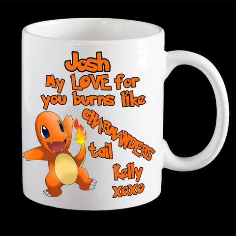 Personalised Valentines Day Pokemon Mug, Funny Charmander mug