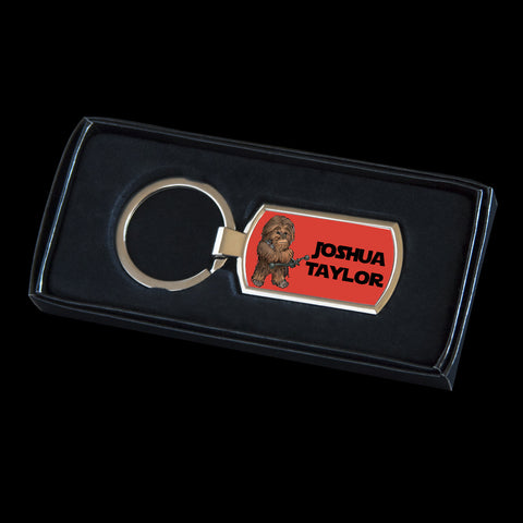 Personalised Chewbacca Star Wars Keyring, Chewbacca tag for bag