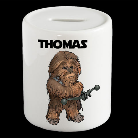 Personalised Chewbacca piggy bank, Star Wars Chewie money bank