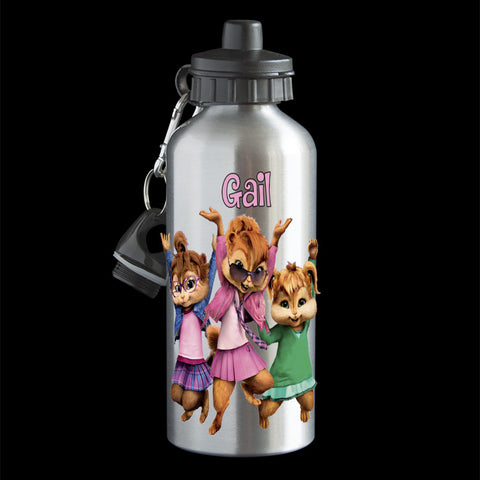 Personalised Chipettes Water Bottle, Chipettes Alvin and the Chipmunks drink bottle