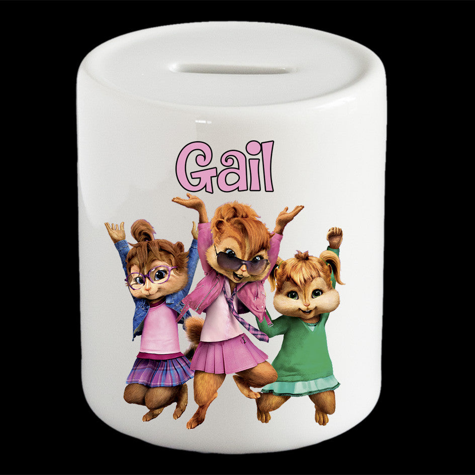 Personalised Chipettes money box, Chippetes Alvin Chipmunks piggy bank